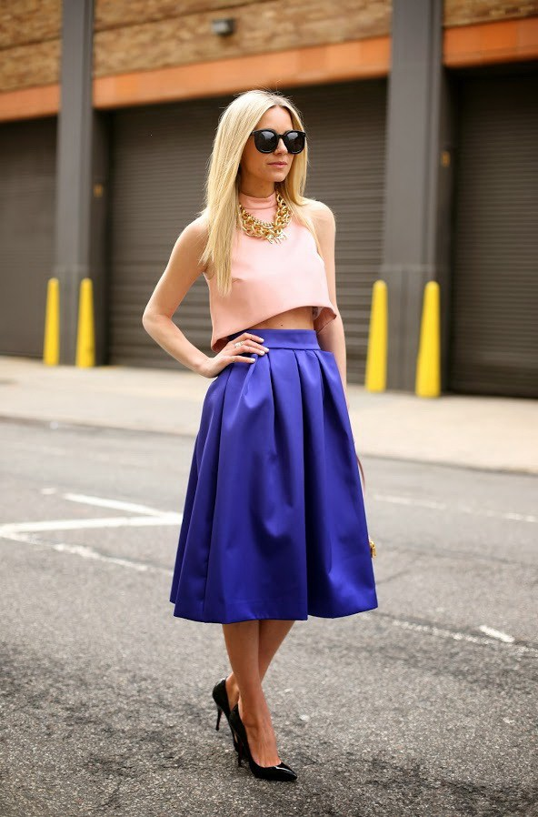 how to wear cobalt blue skirts (13)