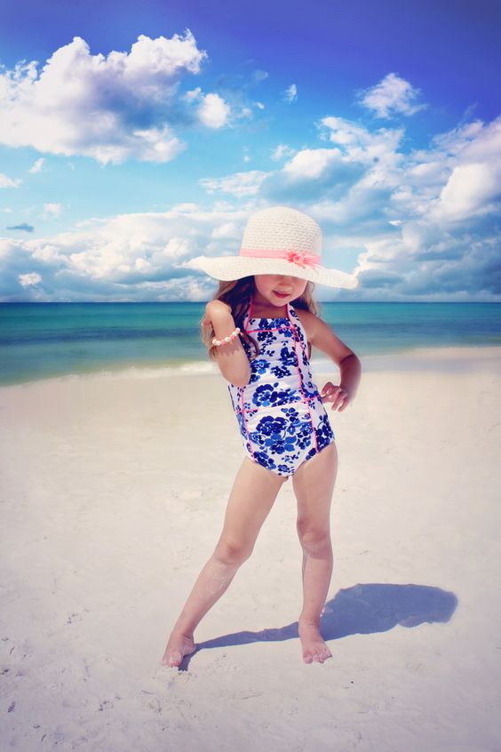 bold blue printed thick strap swimsuit with pink detailing
