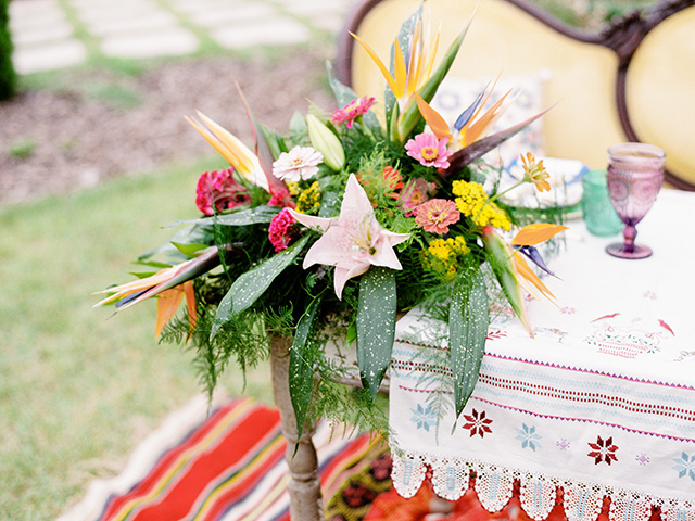Colorful Mexican themed floral arrangement | Casey Rose Photography
