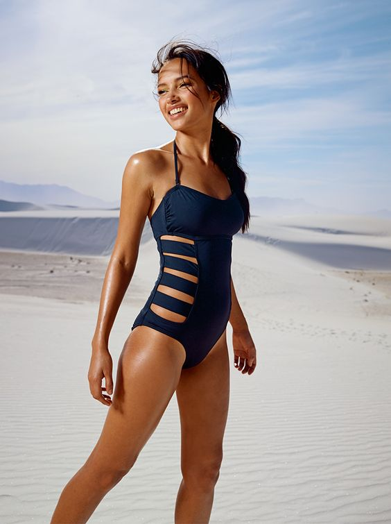 navy spaghetti strap one piece swimsuit with side cutouts