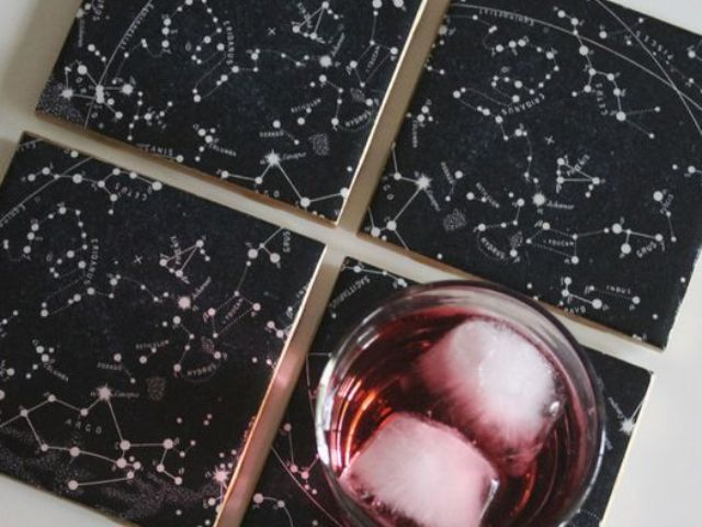 black and white constellation tile coasters as wedding favors