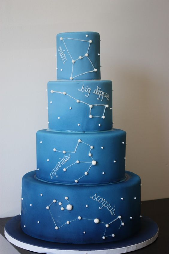 ombre blue constellation wedding cake with white decor