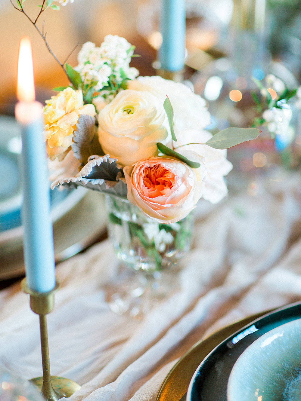 small centerpieces - photo by Photos by Heart http://ruffledblog.com/downtown-birmingham-spring-wedding-inspiration
