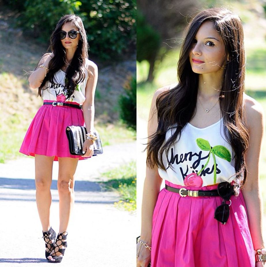 how to wear hot pink skirts (1)