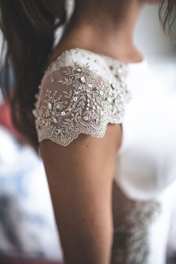 lace cap sleeves with beading and embroidery