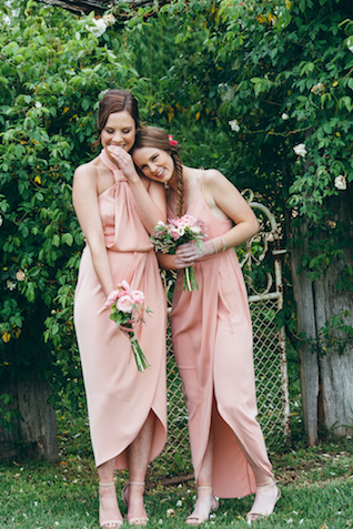 Unique, blush bridesmaids dresses | Katie Hillary Photography
