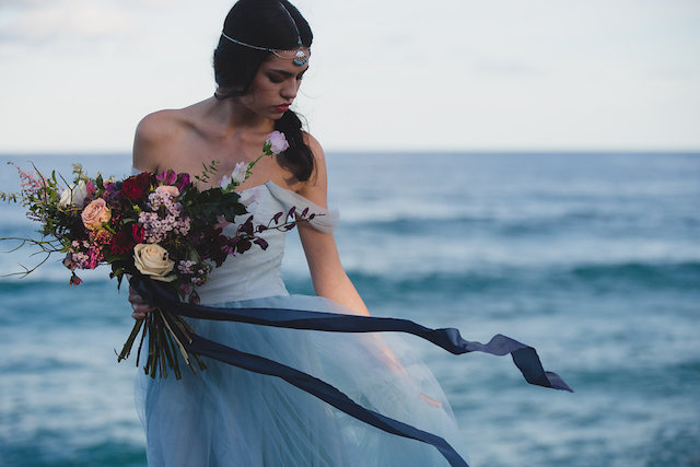 Powder blue tulle wedding dress | Just For Love Photography