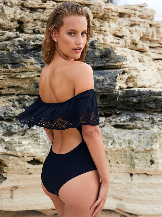 black one piece with a back cutout and lace detailing