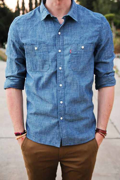 Khaki with Denim Shirt