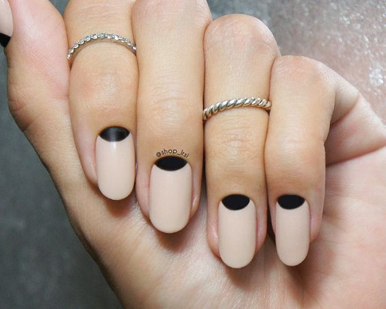 neutral nails with black half moon details can be suitable for work