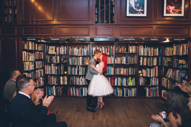 The ceremony took place at a book store in New York