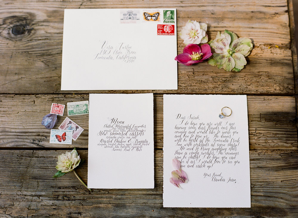 wedding stationery - photo by Taken by Sarah Photography http://ruffledblog.com/intimate-rustic-chic-wedding-inspiration