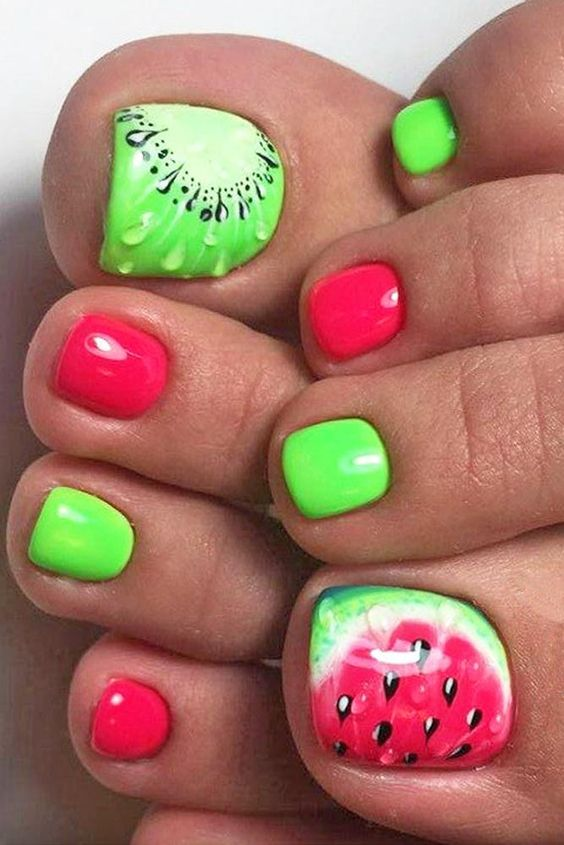 funny kiwi and watermelon nails and bold green and red ones