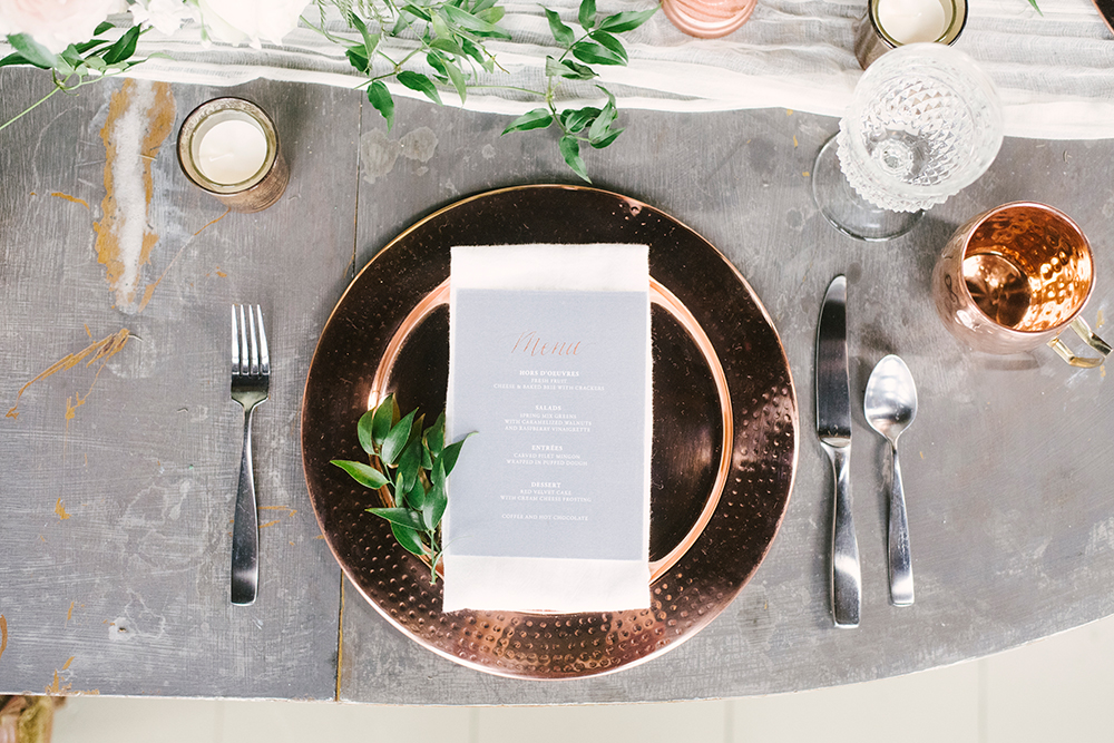 copper wedding inspiration - photo by Alicia King Photography http://ruffledblog.com/upstate-new-york-wedding-ideas-with-copper