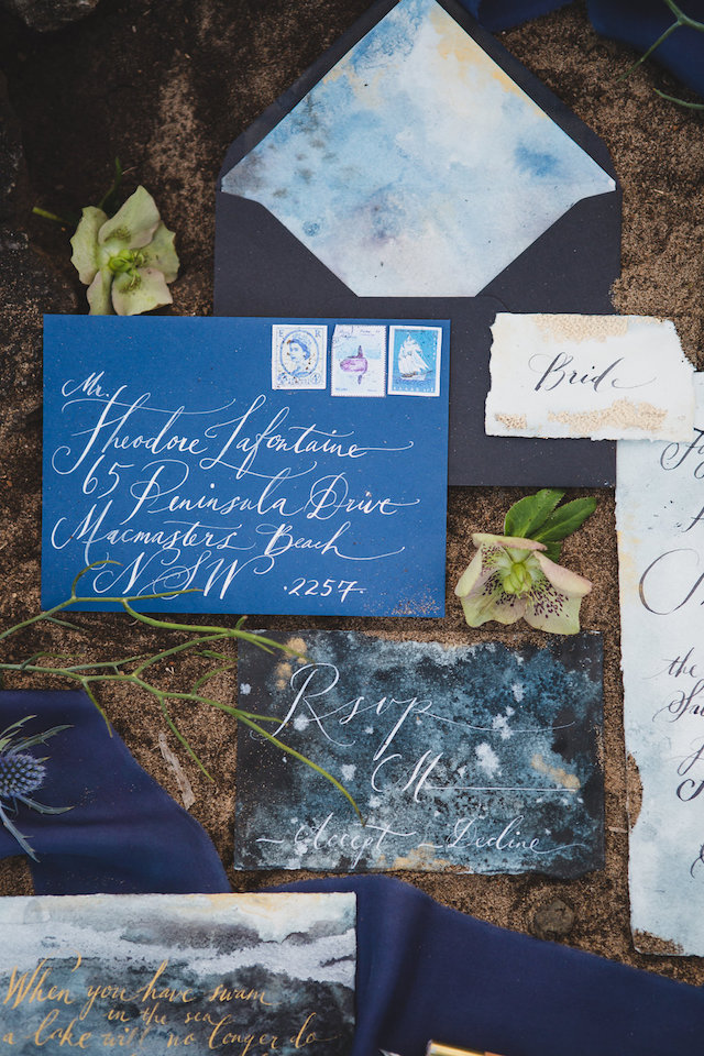 Blue, black, and gold wedding invitations | Just For Love Photography