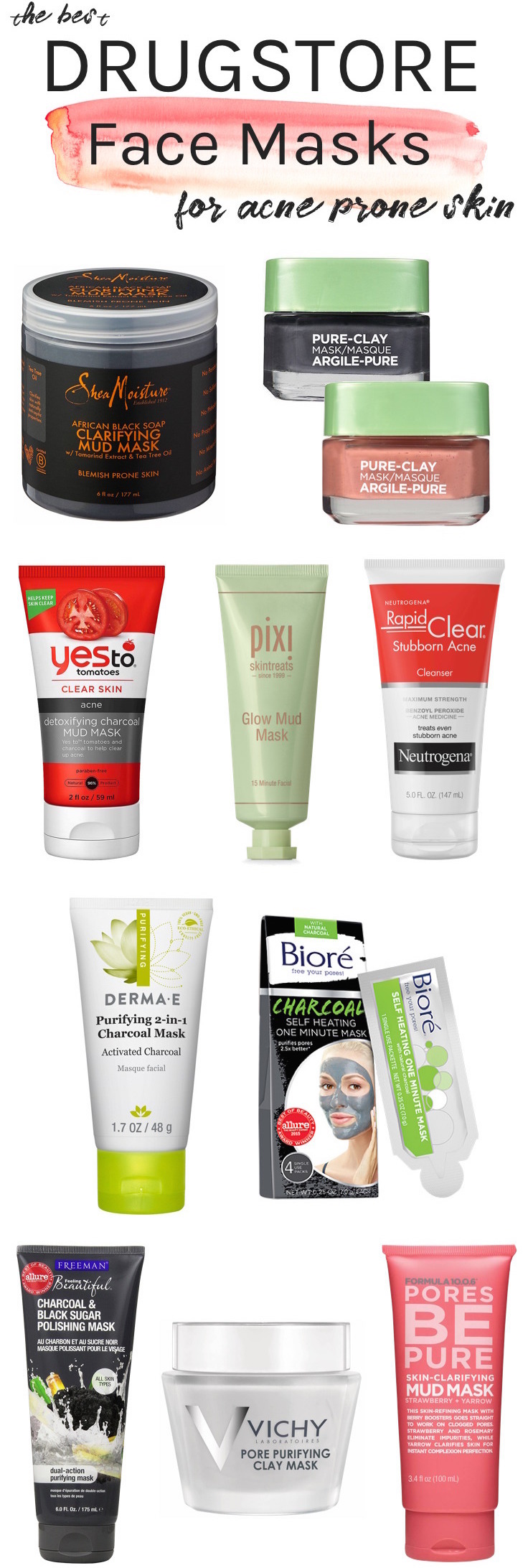 Whether you're battling breakouts, clogged pores or dullness, here are the best drugstore face masks for acne prone skin that can help you get clear skin without costing a pretty penny!