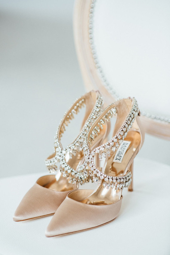 Gorgeous Badgley Mischka bridal shoes with many embellishments