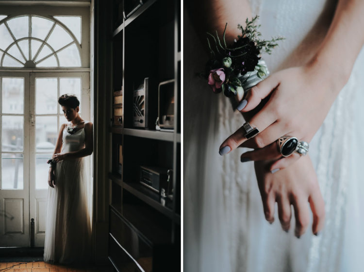 Her bracelet was done with the same flowers as the bouquet