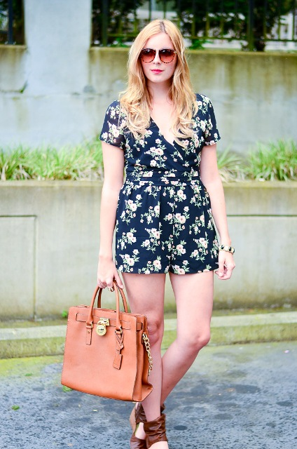 With brown shoes and tote