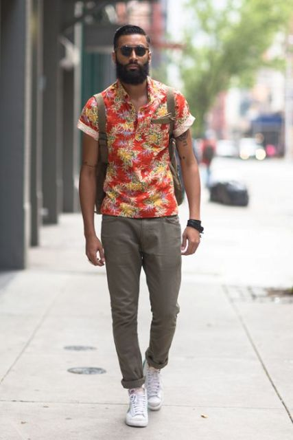 how to wear a floral shirt outfit for men (15)