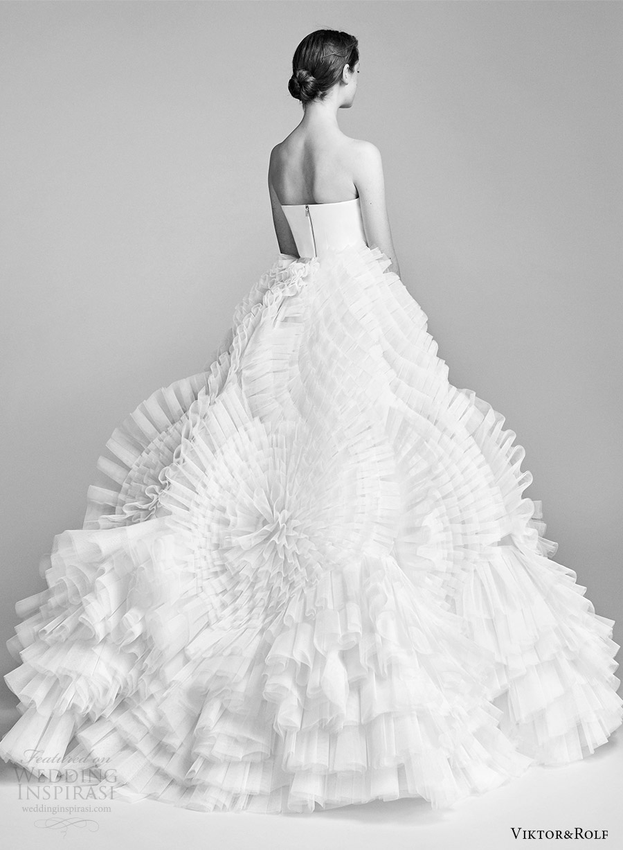 viktor and rolf spring 2018 bridal strapless straight across ball gown wedding dress (5) bv ruffle skirt modern