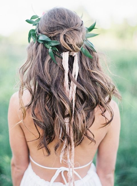 leaf crown with ribbons for a fresh look on loose waves