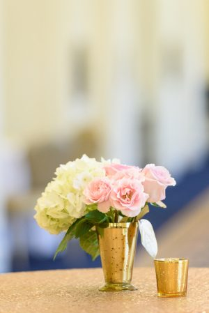 Pink White and gold wedding centerpiece - Katie Whitcomb