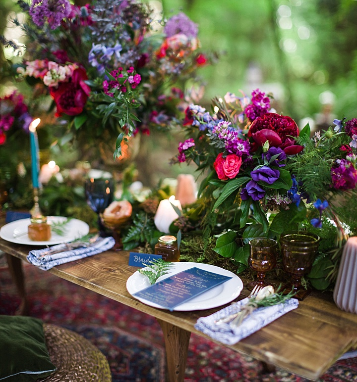 The table runner was of moss, greenery and candles, I also like dyed napkins