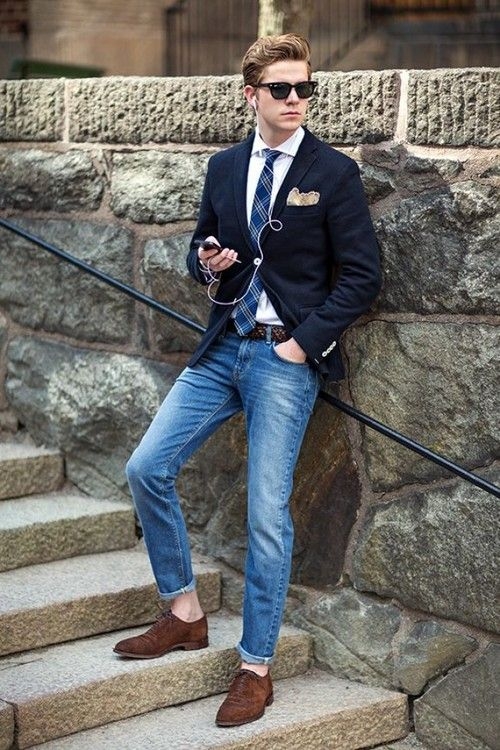 how to wear blue jeans for men (3)