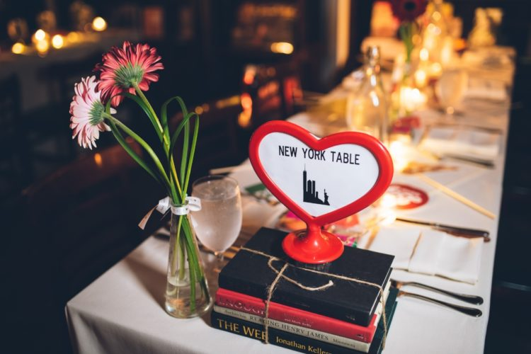 The tables were named after the cities where the couple was, New York was one of them