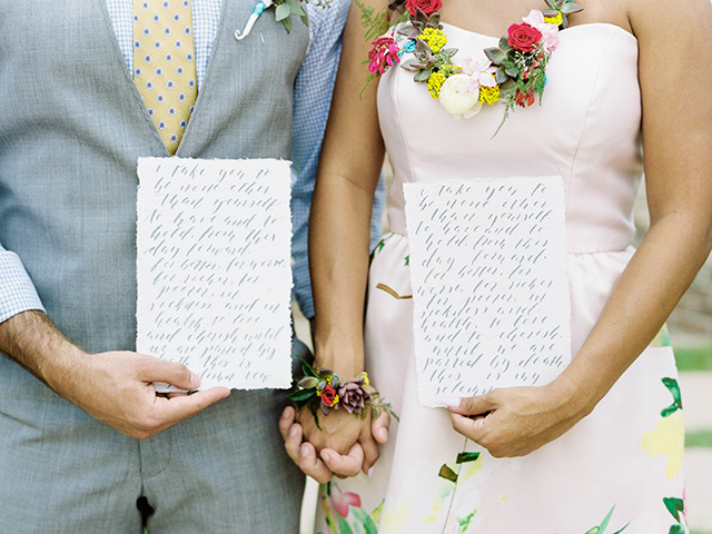 Handwritten calligraphy vows | Casey Rose Photography