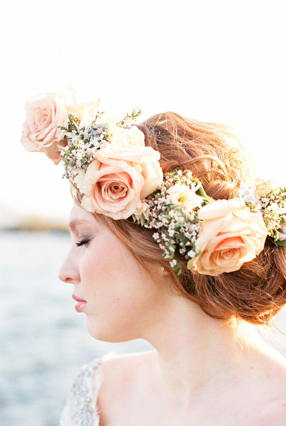 rose flower crowns - photo by Alexis June Weddings http://ruffledblog.com/for-the-love-of-copper-wedding-inspiration