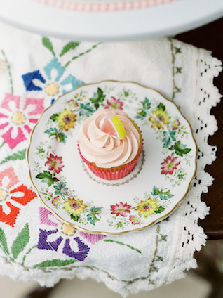 Floral pattern china with cupcake | Casey Rose Photography