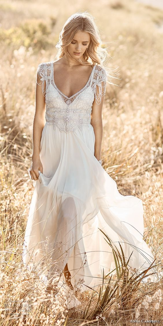 boho beaded wedding dress with an embellished bodice and thread cap sleeves