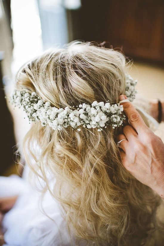 baby's breath is a great choice because such blooms won't wither