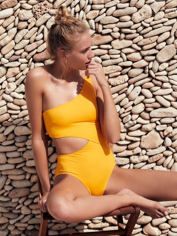 one shoulder sunny yellow swimsuit with a side cutout