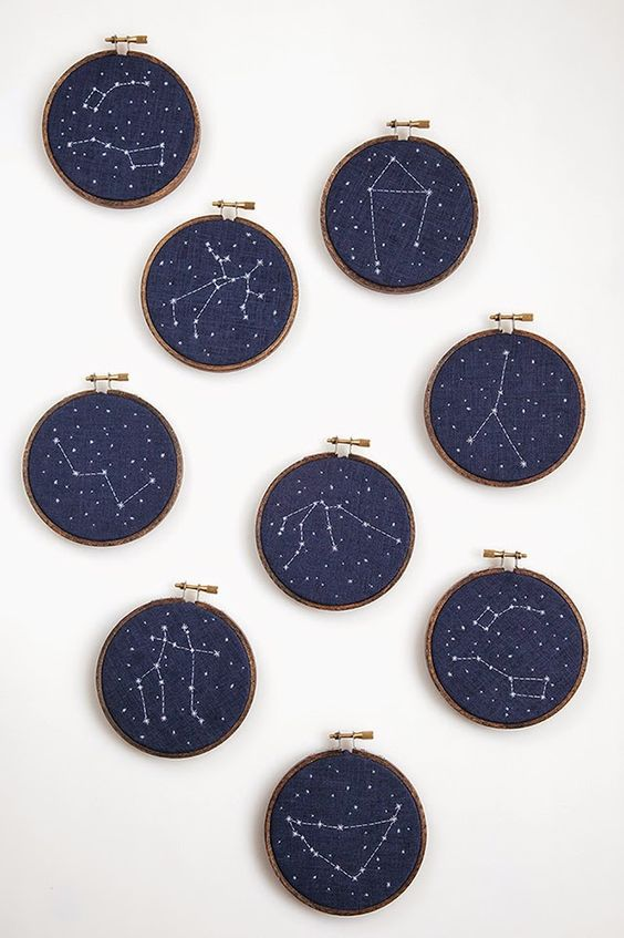 embroidery hoops with navy fabric and embroidered constellations as favors