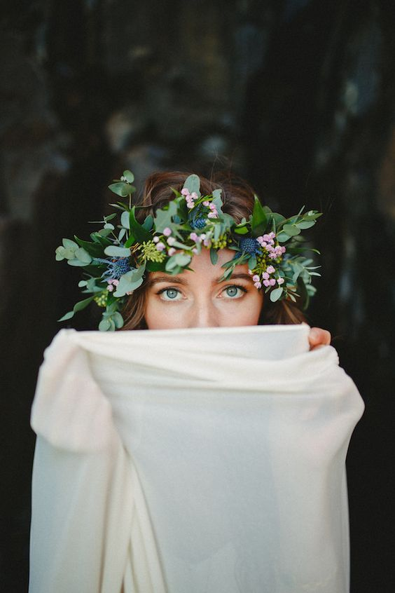 greenery and thistle crown with tiny pink blooms
