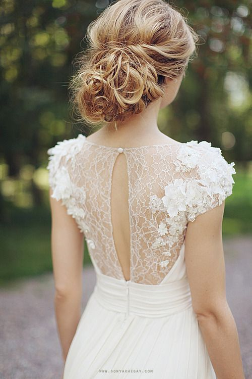 cap sleeves with flower lace appliques look girlish