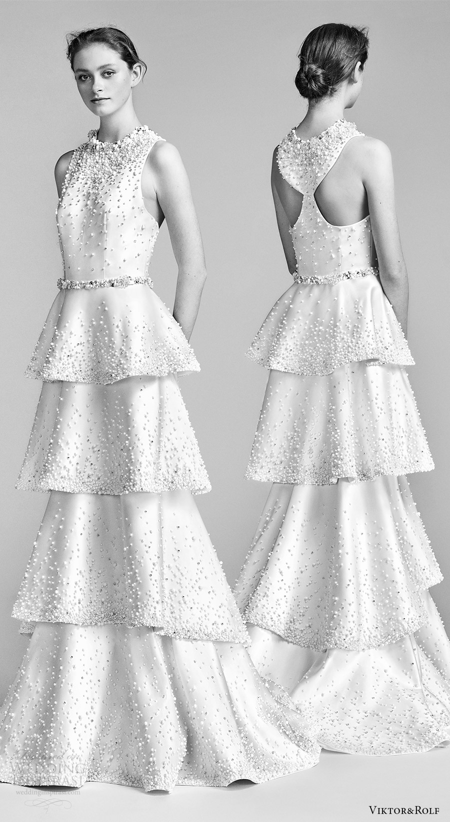 viktor and rolf spring 2018 bridal sleeveless jewel neck heavily beaded column wedding dress tiered skirt (8) mv racer back modern