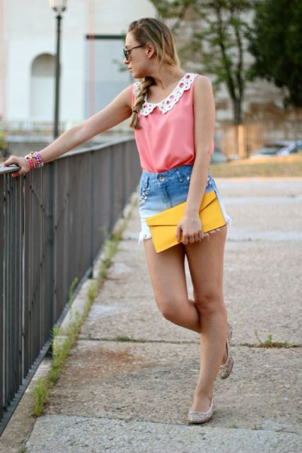 With pink top, yellow clutch and white flats