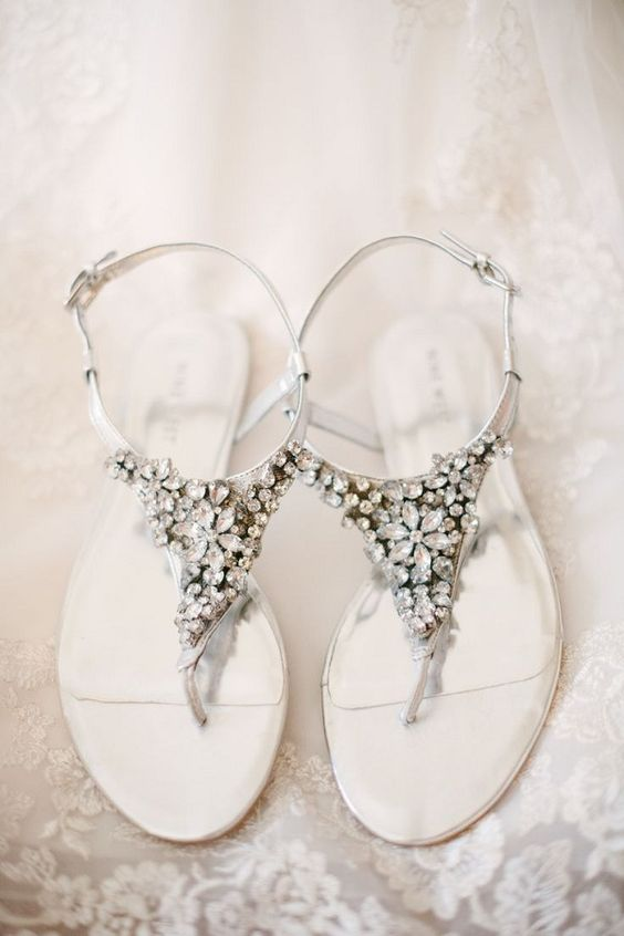 silver thong wedding sandals with heavy crystal destailing