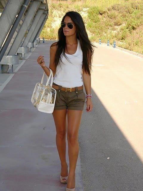 With white top, beige shoes and white bag