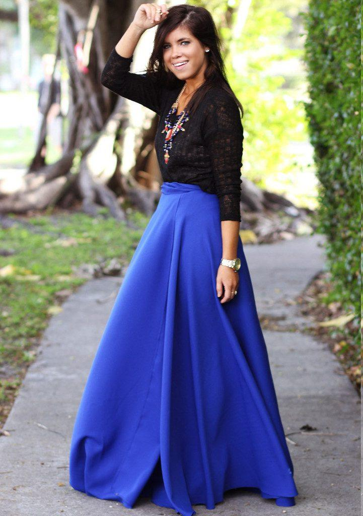 how to wear cobalt blue skirts (19)