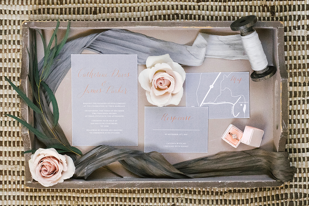 wedding stationery - photo by Alicia King Photography http://ruffledblog.com/upstate-new-york-wedding-ideas-with-copper