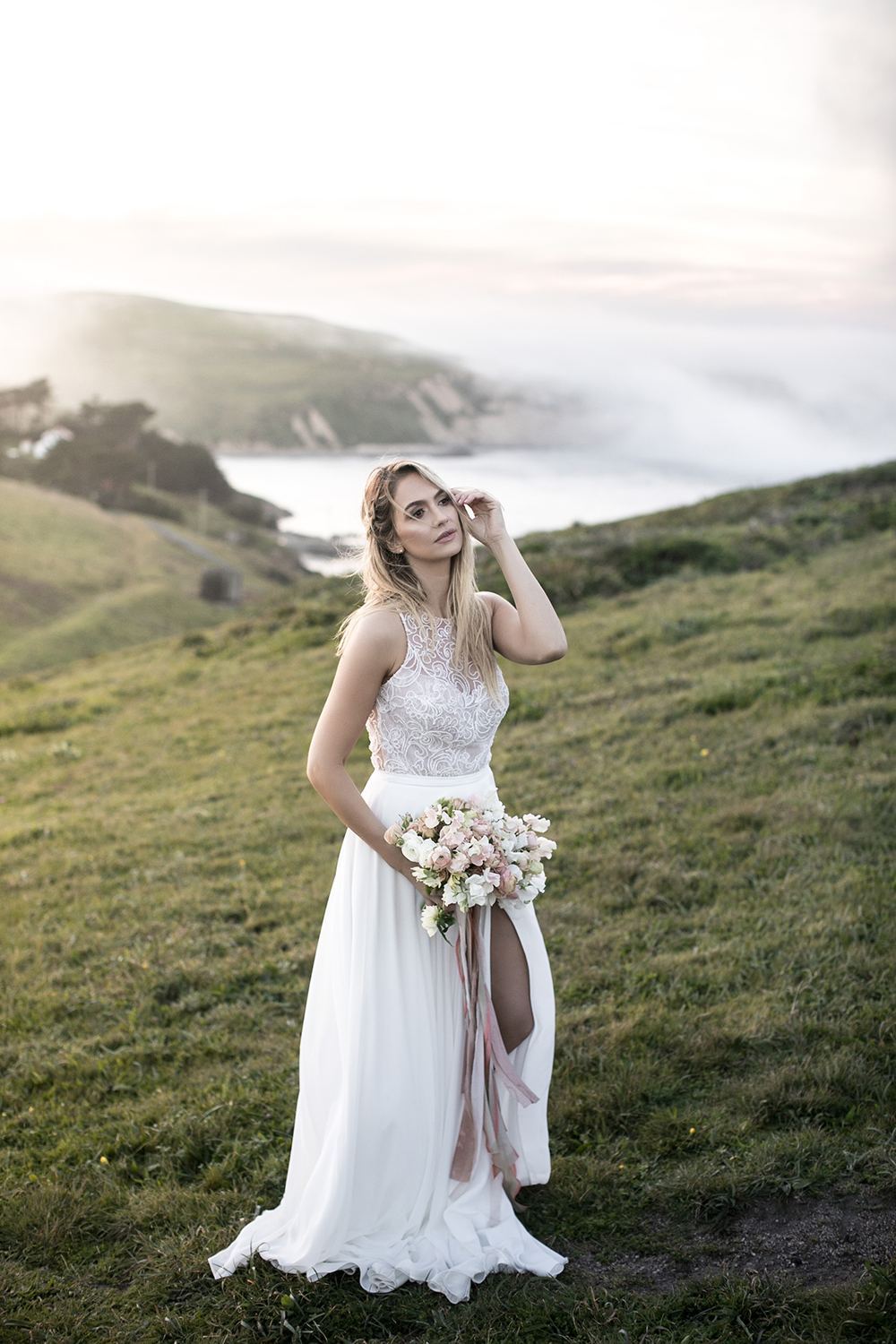 bridal fashion - photo by Tyler Rye Photography http://ruffledblog.com/romantic-coastal-california-wedding-inspiration