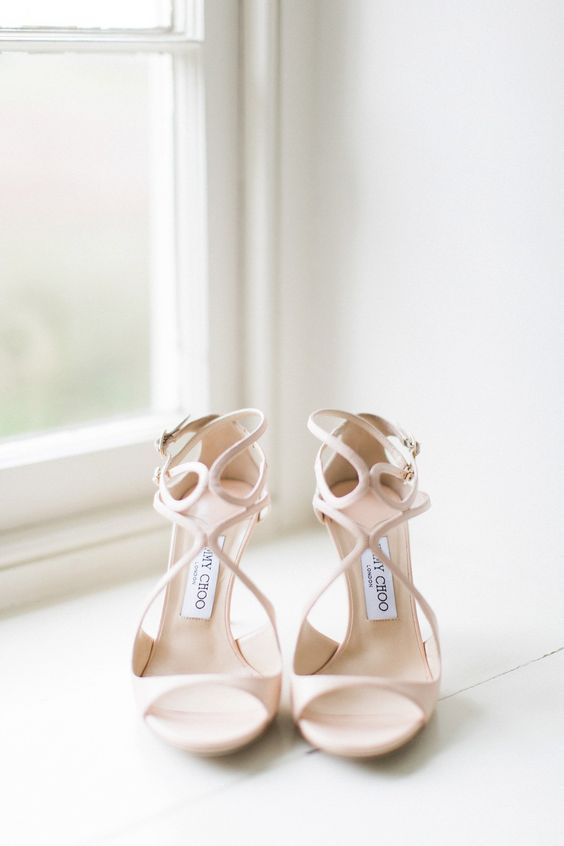neutral cutout wedding sandals on heels for a refined look