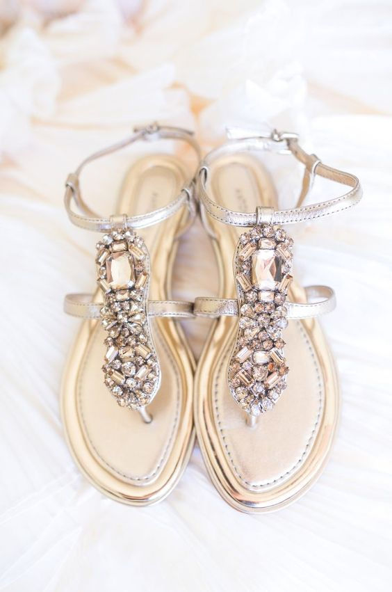 thong silver wedding sandals with heavily crystal decor
