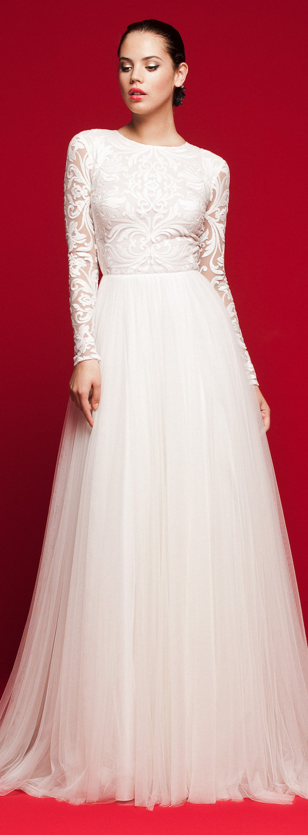Long sleeve ball gown Wedding Dress with tulle skirt and lace top - Daalarna 2018 Love Story Bridal Collection