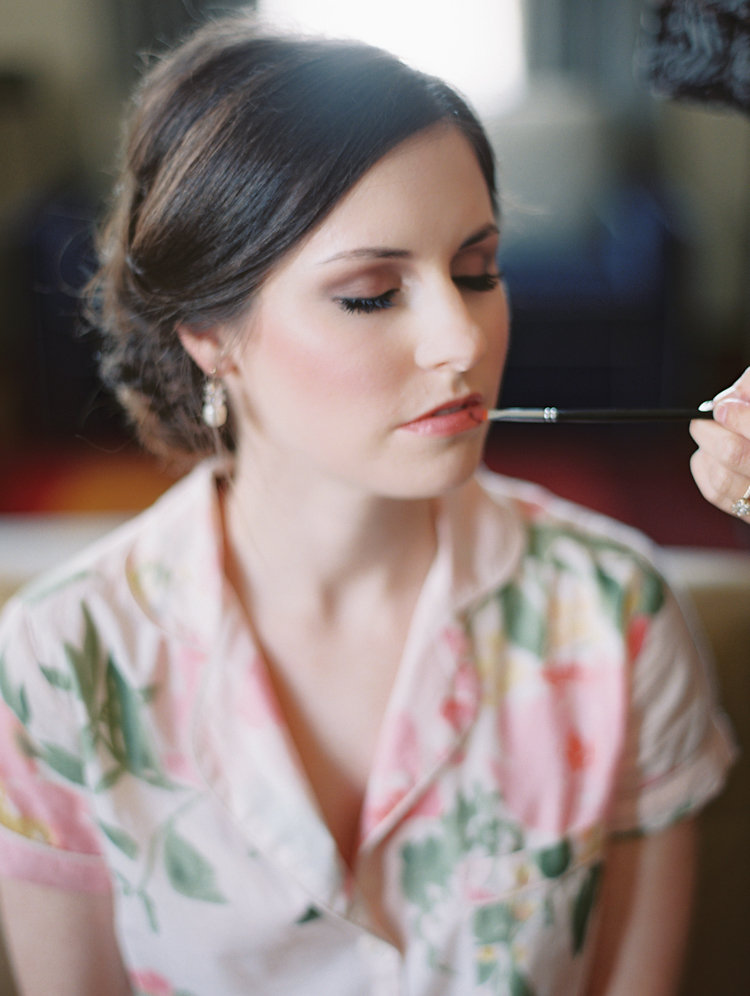 bride getting ready - photo by Bethany Erin Photography http://ruffledblog.com/modern-meets-rustic-wedding-in-dallas